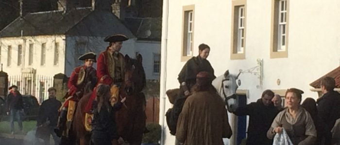 Claire arriving in Culross for the filming of Outlander Season 2